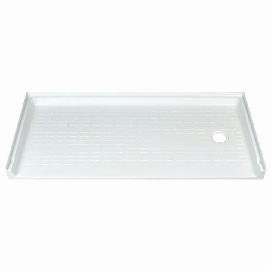 Mustee CareGiver White Fiberglass Shower Base (Common: 30-in W x 60-in L; Actual: 30-in W x 60-in L)