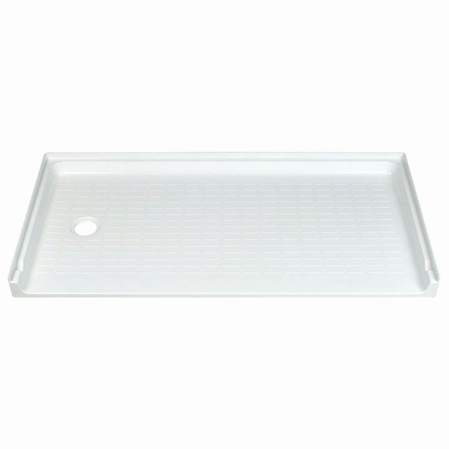Shop mustee caregiver white fiberglass shower base common 30 in w x 60 in l actual 30 in w x - 30 x 60 shower pan ...