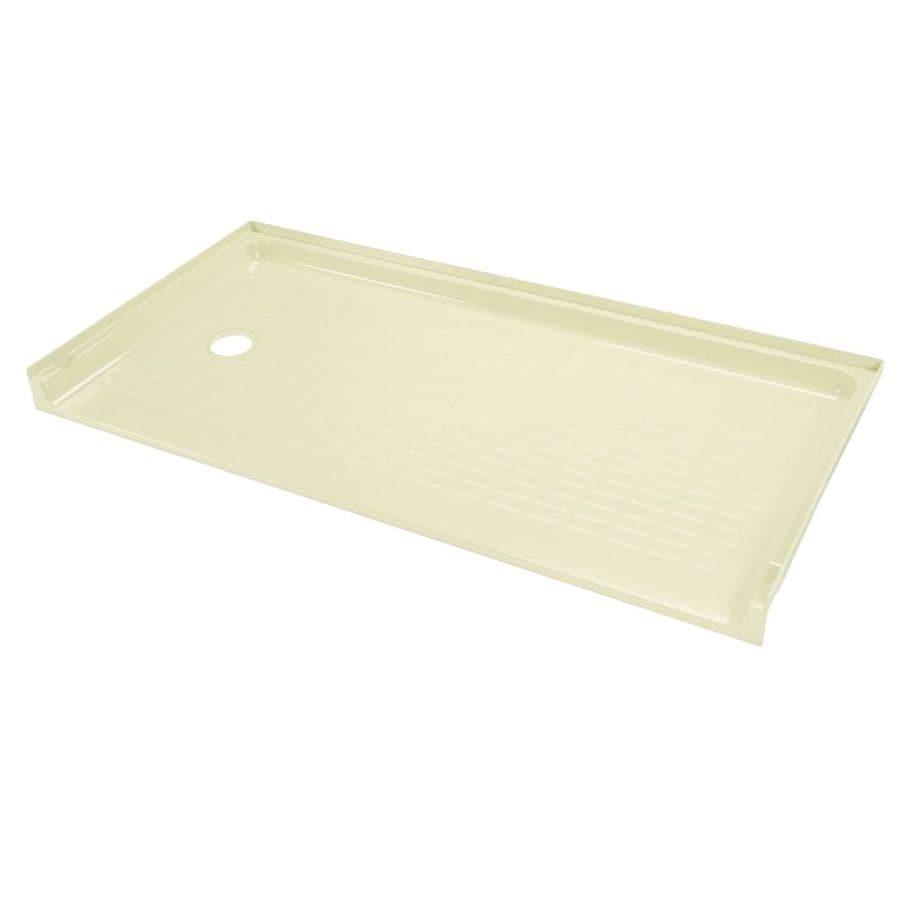 Mustee CareGiver Bone Fiberglass Shower Base (Common: 30-in W x 60-in L; Actual: 30-in W x 60-in L)
