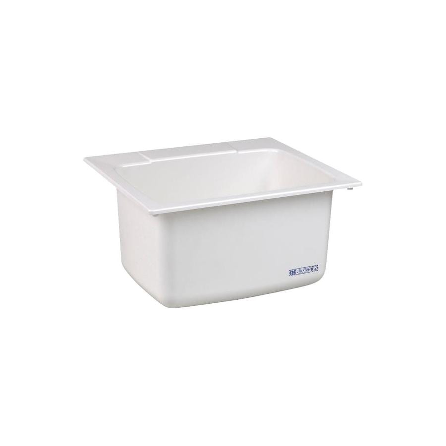 Utility Sinks For Laundry Room: Mustee 25-in X 22-in 1-Basin White Self-rimming Composite