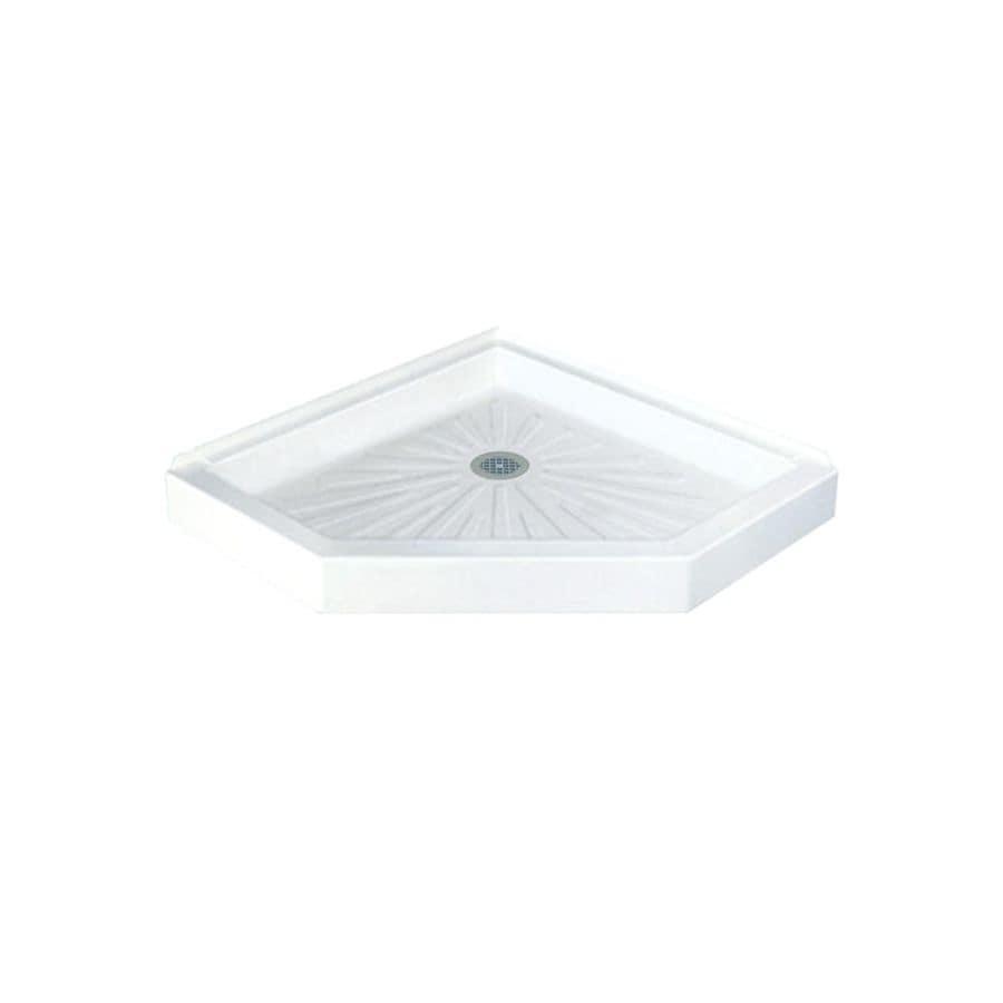 Mustee DURABASE 42-in L x 42-in W White Fiberglass Neo-Angle Corner Shower Base