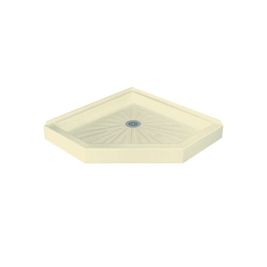Mustee DURABASE 42-in L x 42-in W Bone Fiberglass Neo-Angle Corner Shower Base