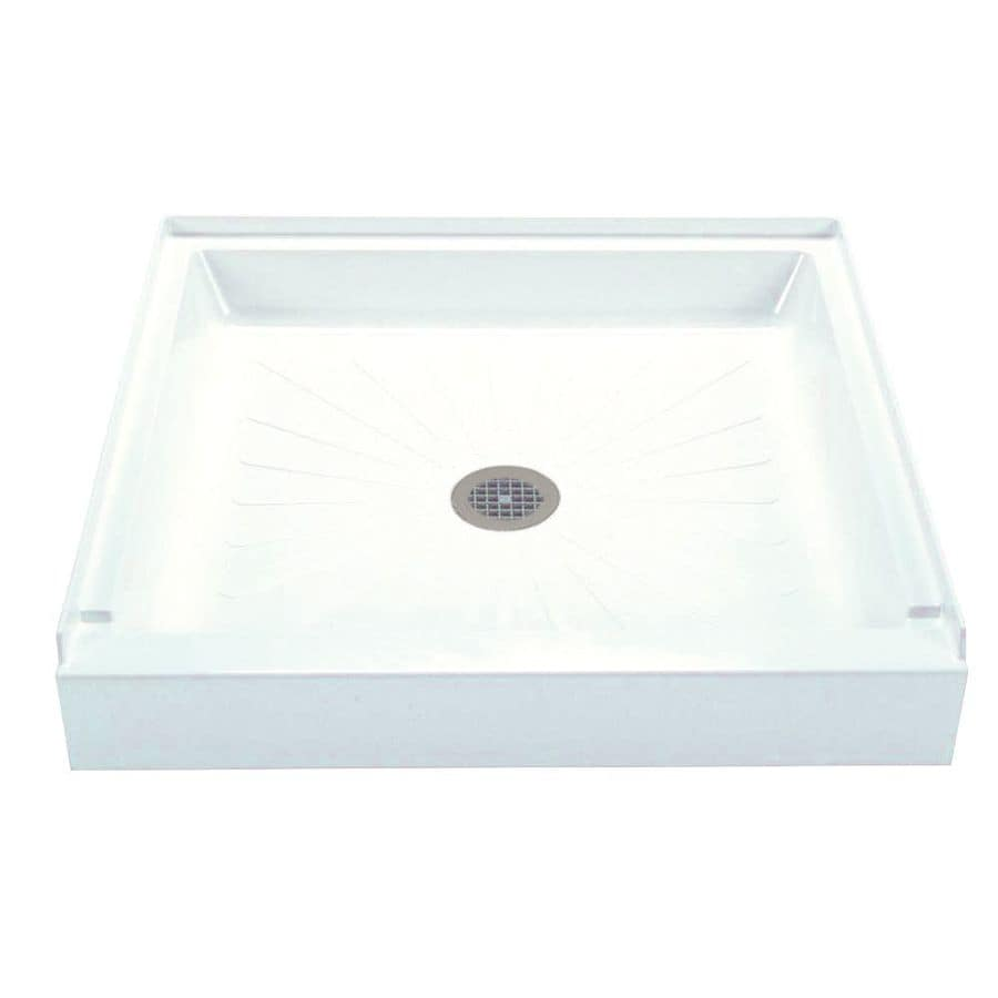 Mustee Durabase White Fiberglass Shower Base (Common: 42-in W x 42-in L; Actual: 42-in W x 42-in L)