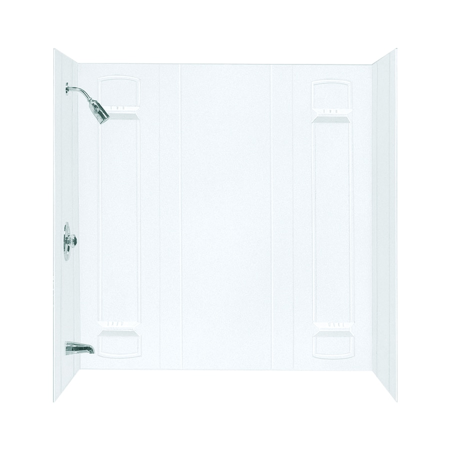Mustee Durawall White Fiberglass Bathtub Wall Surround (Common: 32-in x 60-in; Actual: 57-in x 32-in x 60-in)