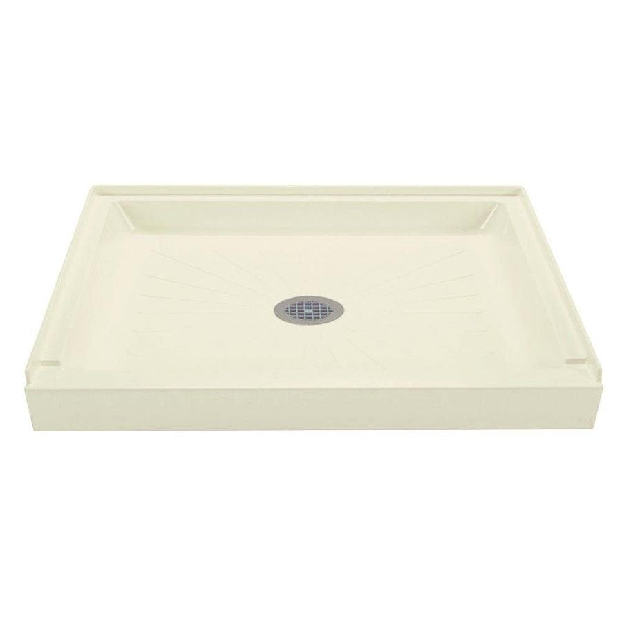 Mustee Durabase Biscuit Fiberglass Shower Base (Common: 32-in W x 48-in L; Actual: 32-in W x 48-in L) with Center Drain