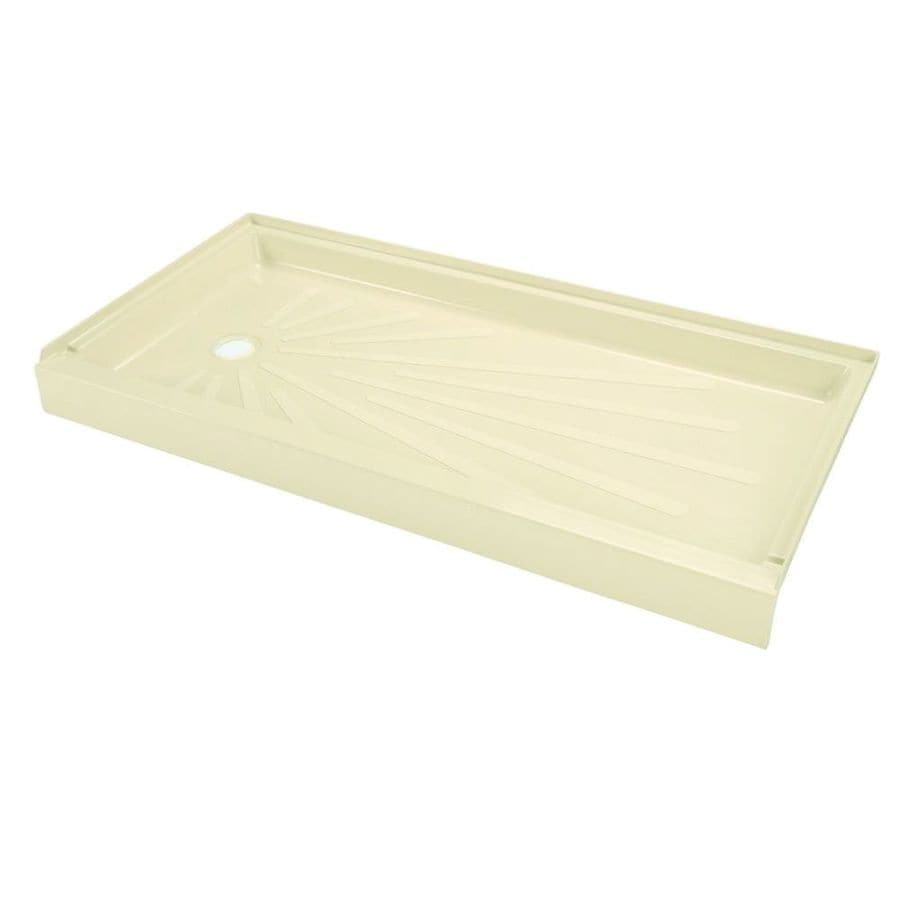 Mustee ShowerTub Bone Fiberglass Shower Base (Common: 30-in W x 60-in L; Actual: 30-in W x 60-in L)