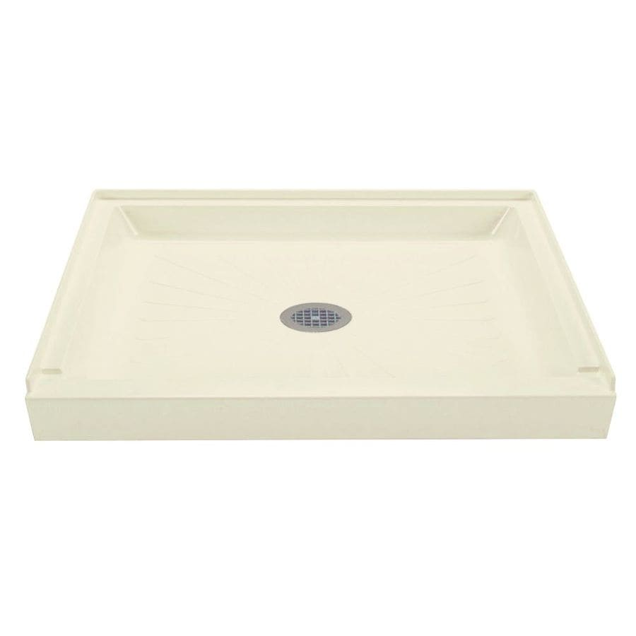 Mustee DURABASE Biscuit Fiberglass Shower Base (Common: 34-in W x 60-in L; Actual: 34-in W x 60-in L)
