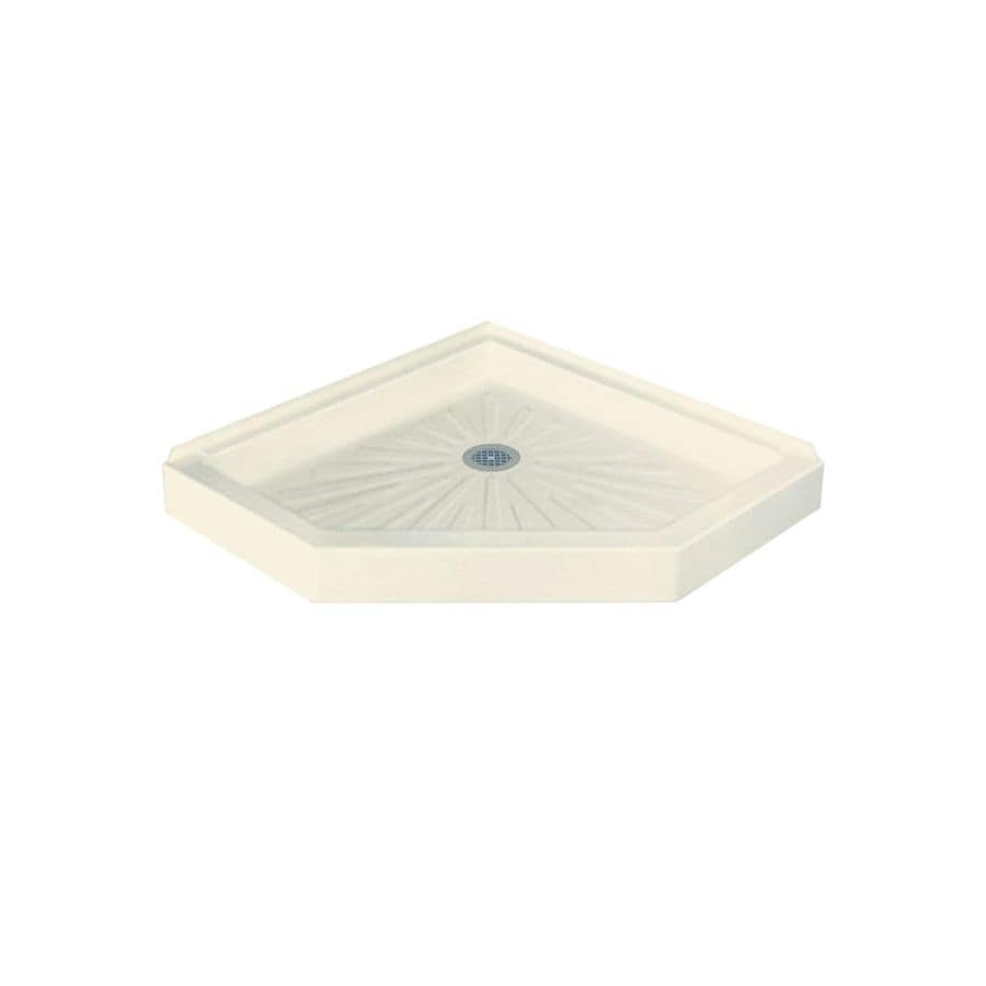 Mustee DURABASE 36-in L x 36-in W Biscuit Fiberglass Neo-Angle Corner Shower Base