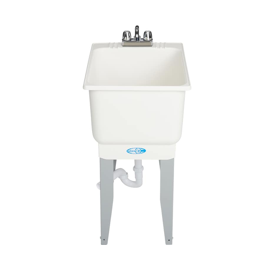 Mustee 18-in x 23.5-in White Freestanding Polypropylene Utility Sink with Drain and Faucet