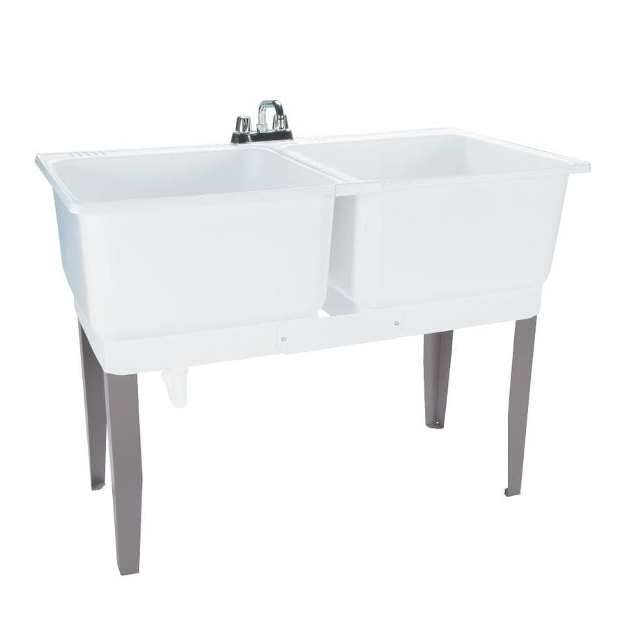 Mustee 46-in x 25-in 2-Basin White Freestanding Polypropylene Utility Tub with Drain with/and Faucet