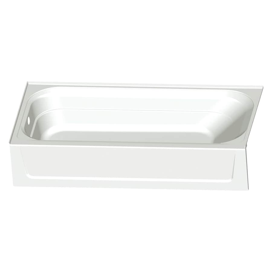 Mustee TOPAZ White Fiberglass Rectangular Alcove Bathtub with Left-Hand Drain (Common: 30-in x 60-in; Actual: 15.75-in x 30-in x 60-in)