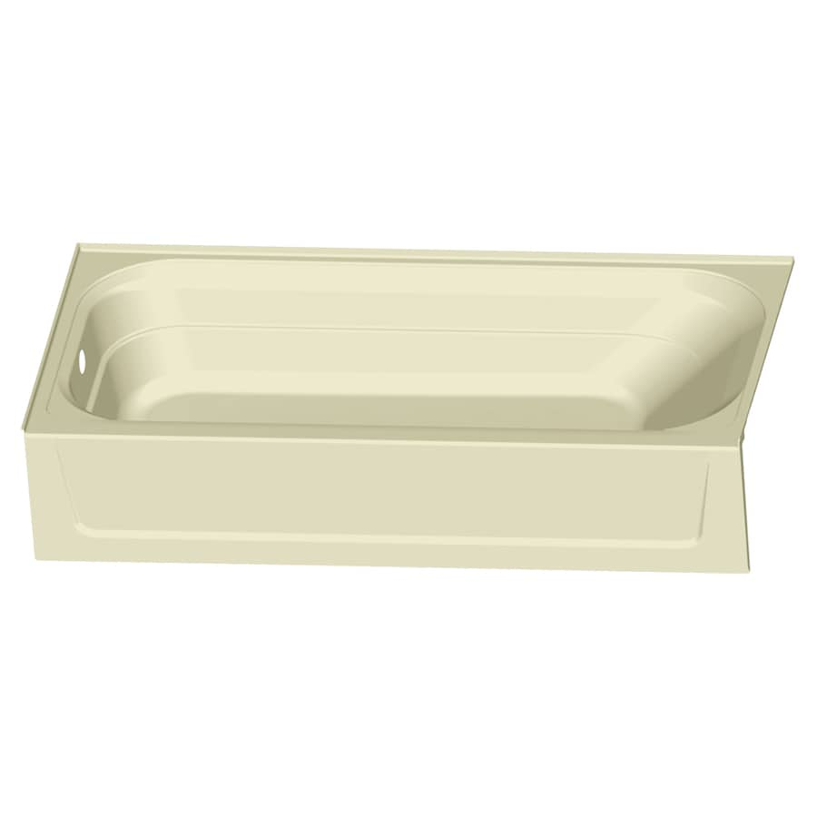Shop mustee topaz 60 in bone fiberglass alcove bathtub for Fiberglass garden tub