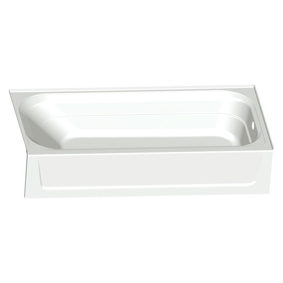 Shop mustee topaz 60 in white fiberglass alcove bathtub for Fiberglass garden tub