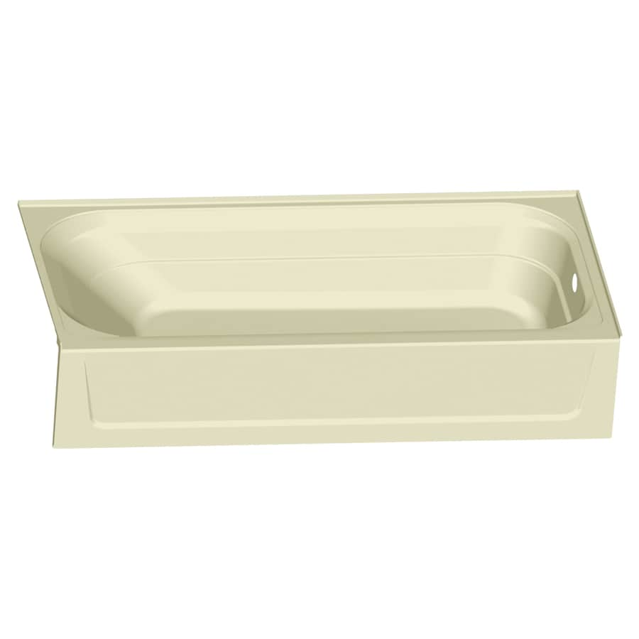 Mustee Topaz 60-in Bone Fiberglass Alcove Bathtub with Right-Hand Drain
