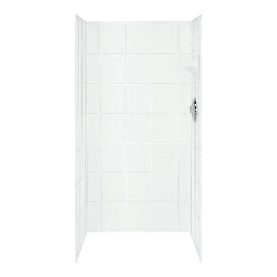 Mustee VARISTONE White Shower Wall Surround Side and Back Panels (Common: 60-in x 34-in; Actual: 72-in x 60-in x 34-in)