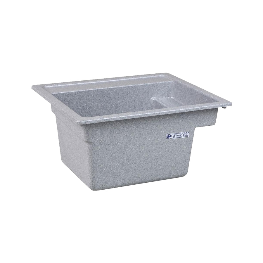 Mustee 25-in x 22-in 1-Basin Twilight Self-rimming Composite Laundry Sink with Drain