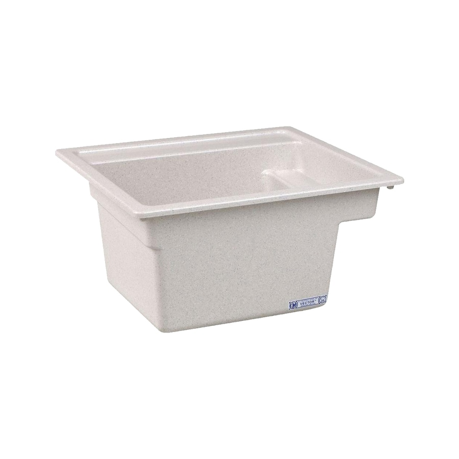 Mustee 25-in x 22-in 1-Basin Prairie Drift Self-Rimming Composite Laundry Utility Sink with Drain