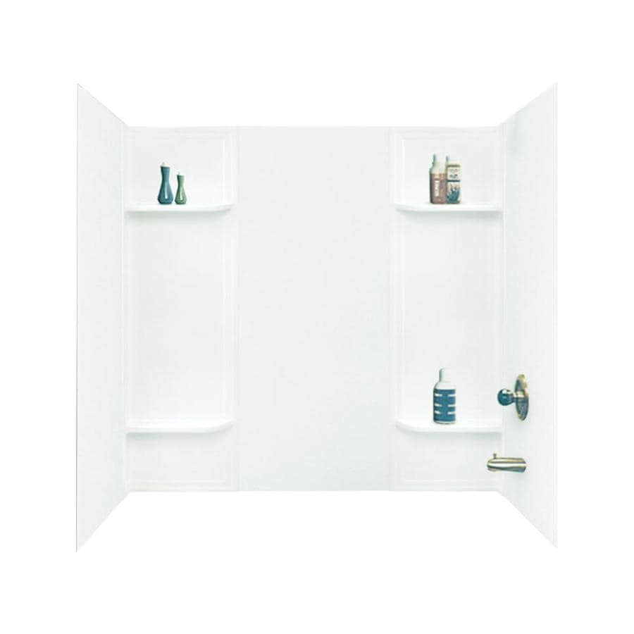 Mustee DURAWALL White Fiberglass/Plastic Composite Bathtub Wall Surround (Common: 30-in x 60-in; Actual: 58-in x 30-in x 60-in)