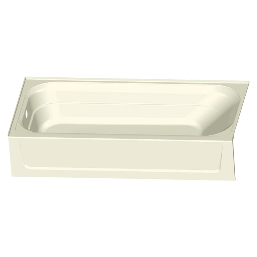 Mustee Topaz 60-in Biscuit Fiberglass Alcove Bathtub with Left-Hand Drain