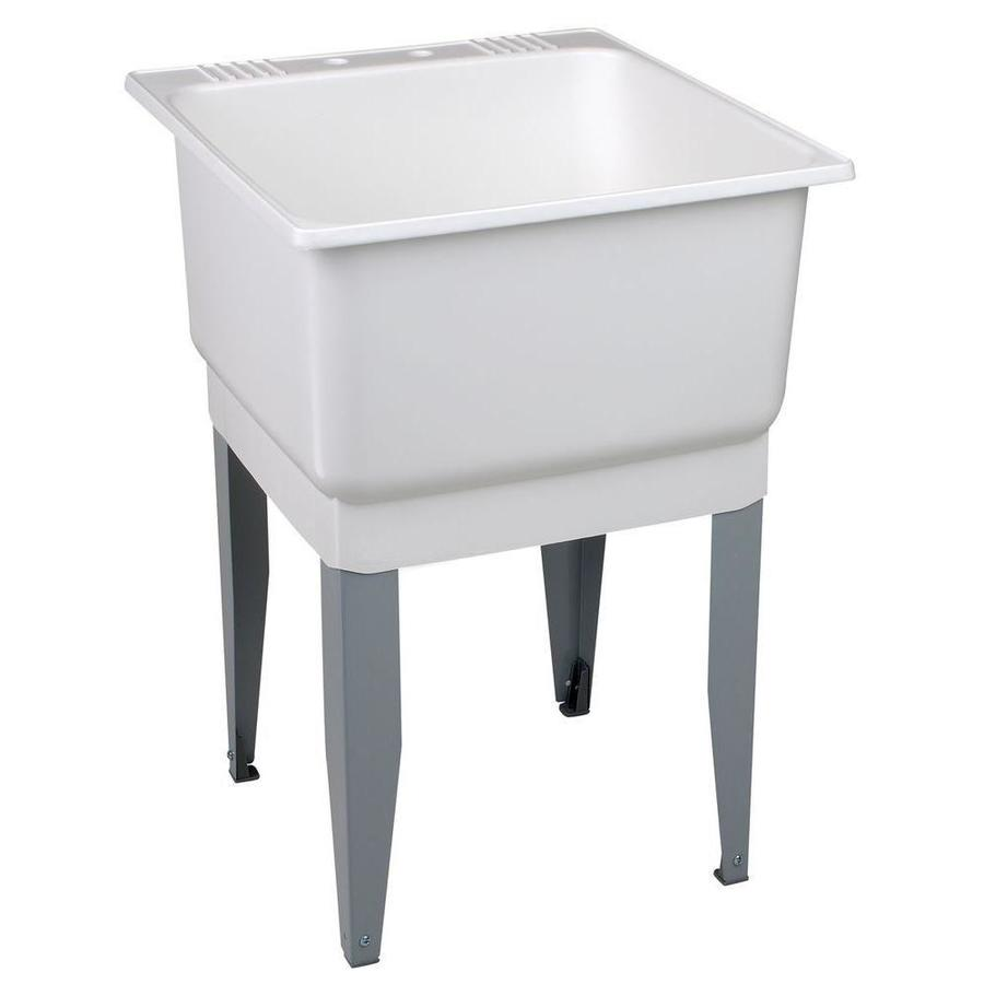 Mustee 23-in x 25-in 1-Basin White Freestanding Polypropylene Utility Tub with Drain with/and Faucet