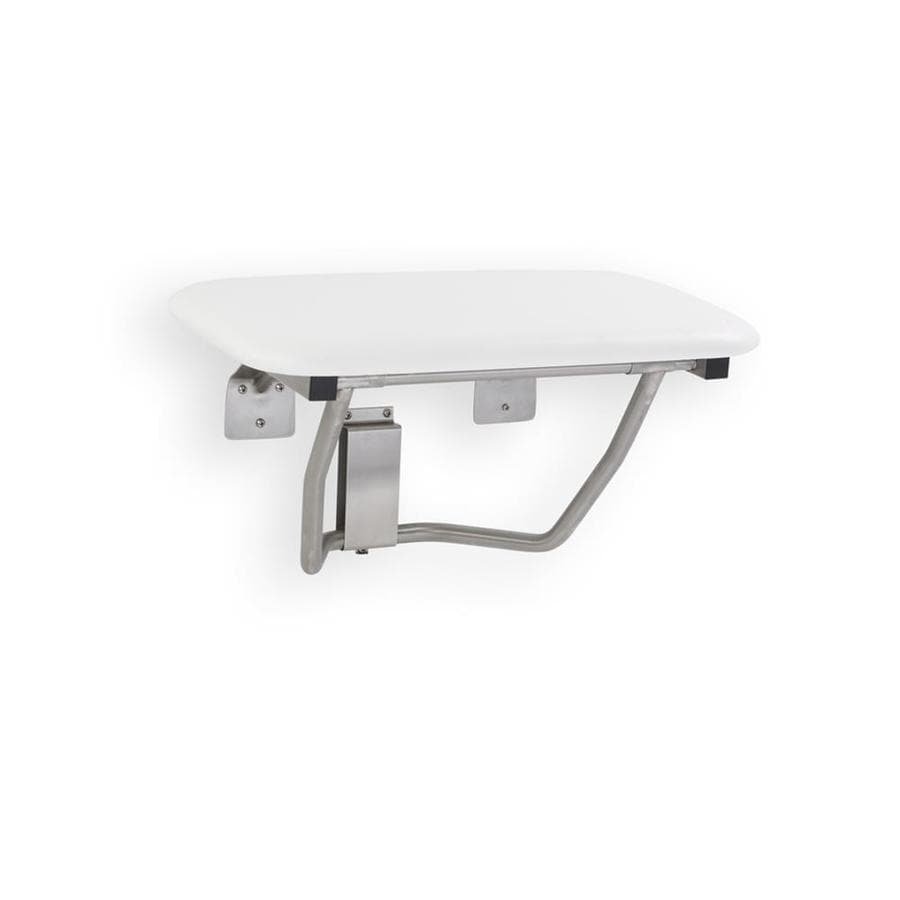 Shop Mustee White Stainless steel Wall mount Shower seat at Lowes.com