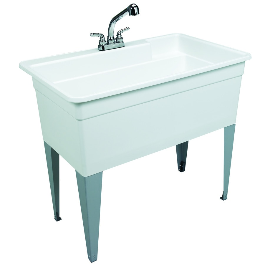 Mustee 40-in x 24-in 1-Basin White Freestanding Polypropylene Utility Tub with Drain with/and Faucet