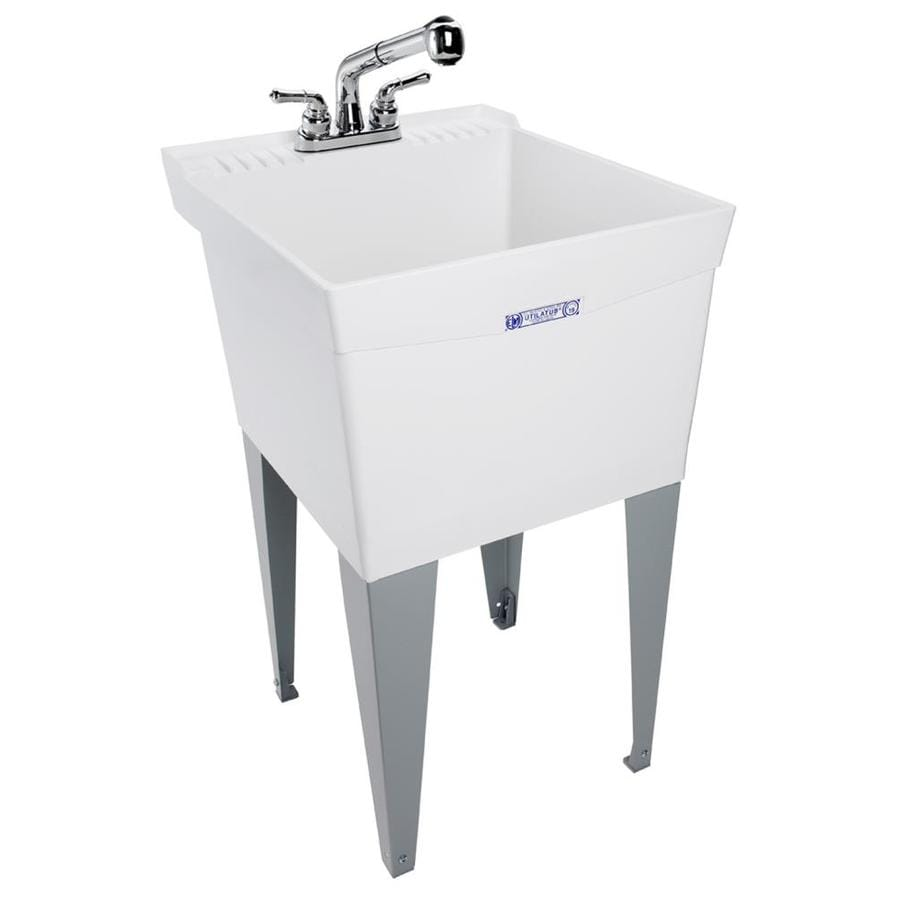 Mustee 20-in x 24-in White Freestanding Polypropylene Utility Sink with Drain and Faucet