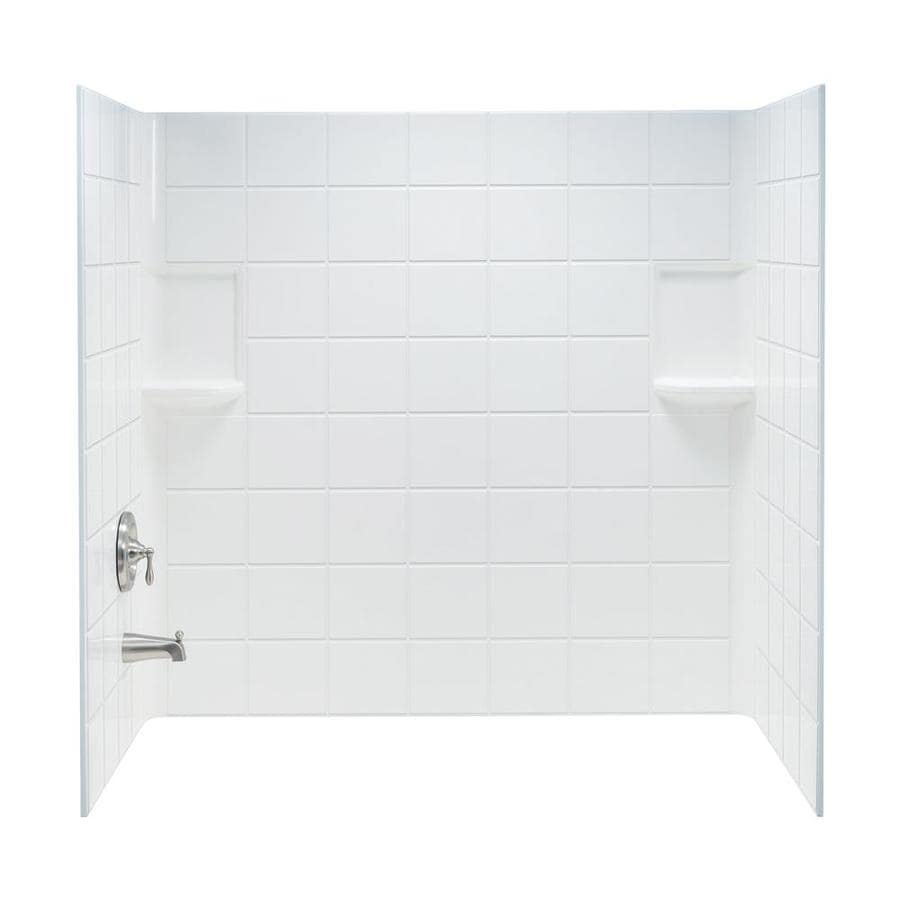Shop Mustee Topaz White Fiberglass Bathtub Wall Surround (Common: 30 ...
