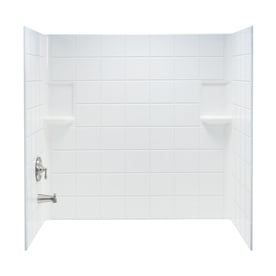 Delicieux Mustee Topaz White Fiberglass Bathtub Wall Surround (Common: 30 In X 60