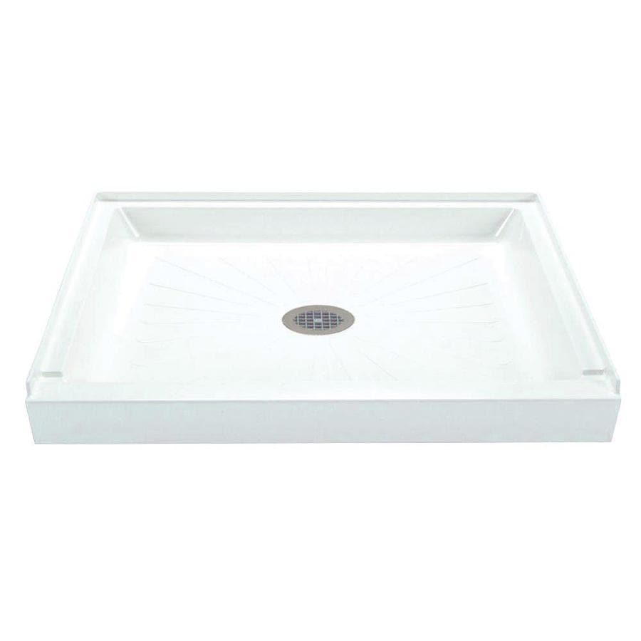 Shop Mustee Durabase White Fiberglass Shower Base (Common: 36-in W x ...