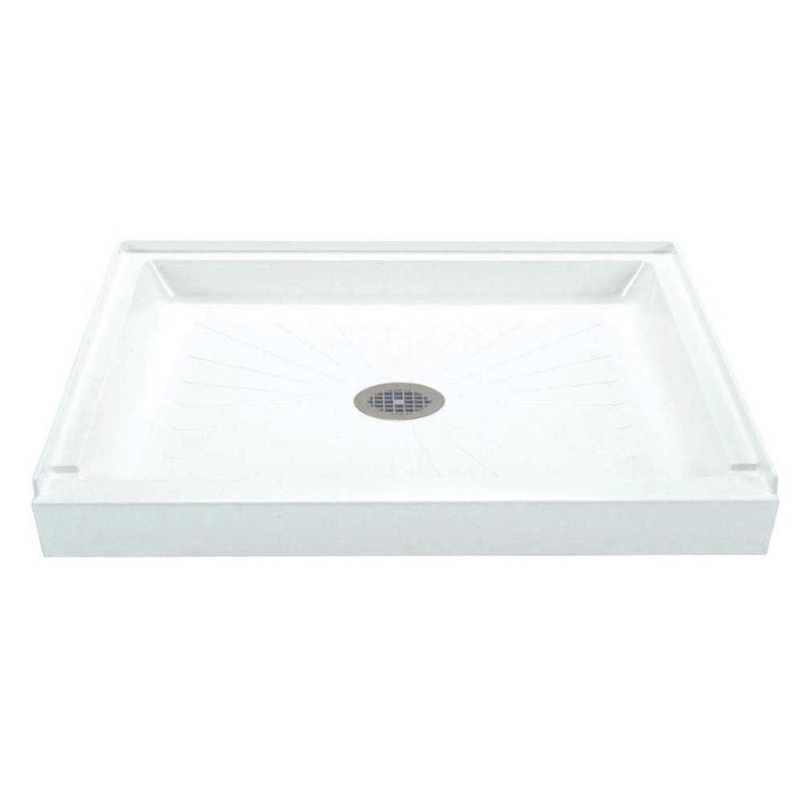 Mustee Durabase White Fiberglass Shower Base (Common: 36-in W x 60-in L; Actual: 36-in W x 60-in L)