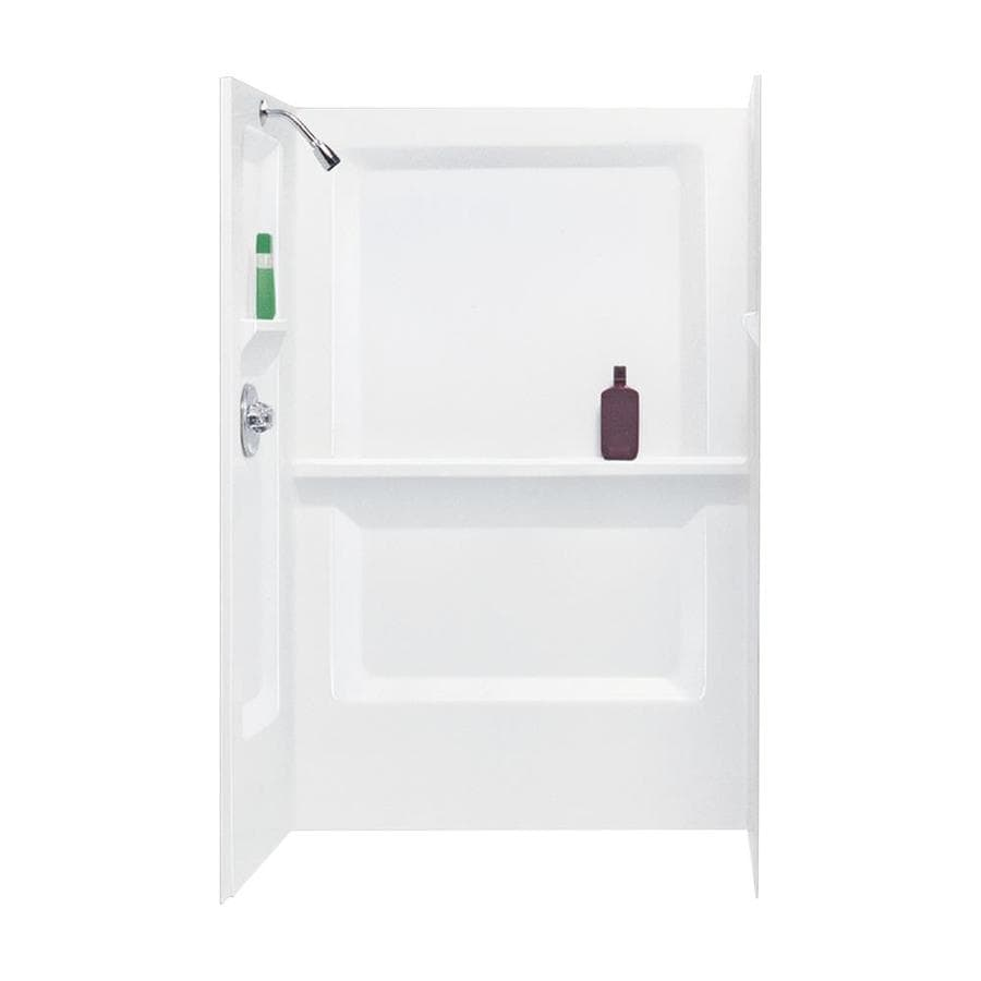 Mustee Durawall White Shower Wall Surround Side And Back Wall Kit (Common: 48-in x 34-in; Actual: 73.25-in x 48-in x 34-in)