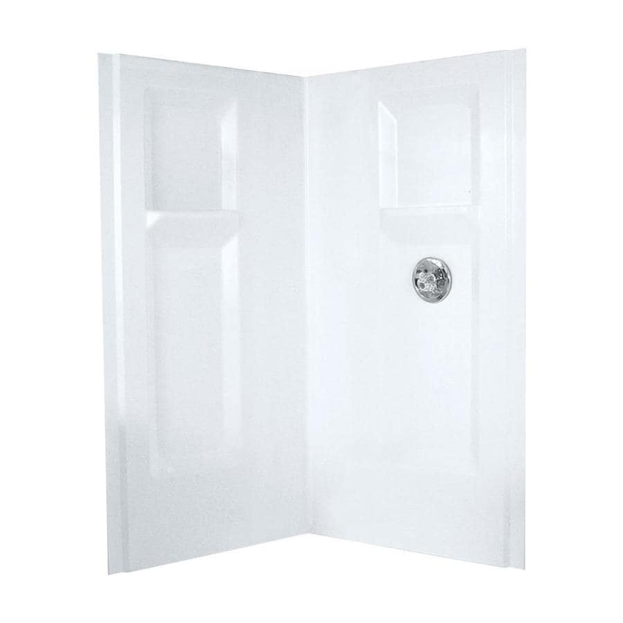 Mustee DURAWALL White Shower Wall Surround Corner Wall Panel (Common: 42-in x 42-in; Actual: 73.25-in x 42-in x 42-in)