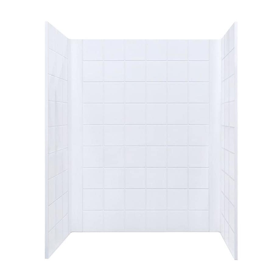 Mustee DURAWALL White Shower Wall Surround Side and Back Panels (Common: 60-in x 34-in; Actual: 73.25-in x 60-in x 34-in)