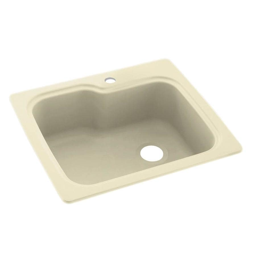 Swanstone 22-in x 25-in Bone Single-Basin Composite Drop-in or Undermount 1-Hole Residential Kitchen Sink