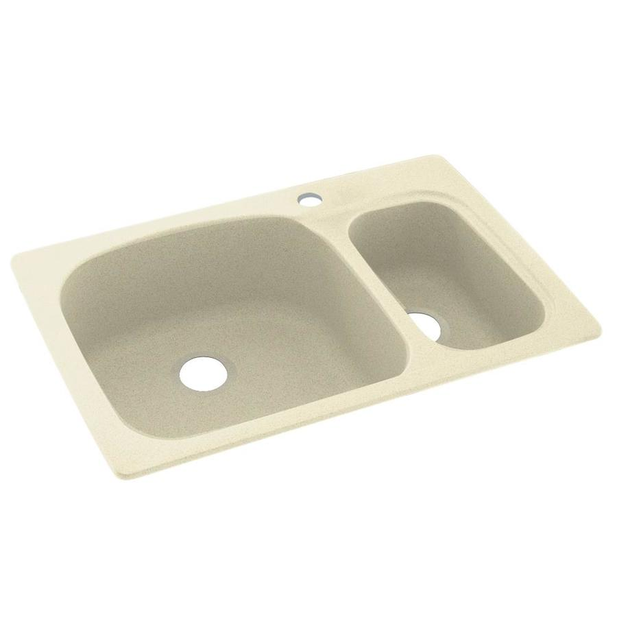 Swanstone 22.0000-in x 33.0000-in Bone Double-Basin Composite Drop-in or Undermount 1-Hole Residential Kitchen Sink