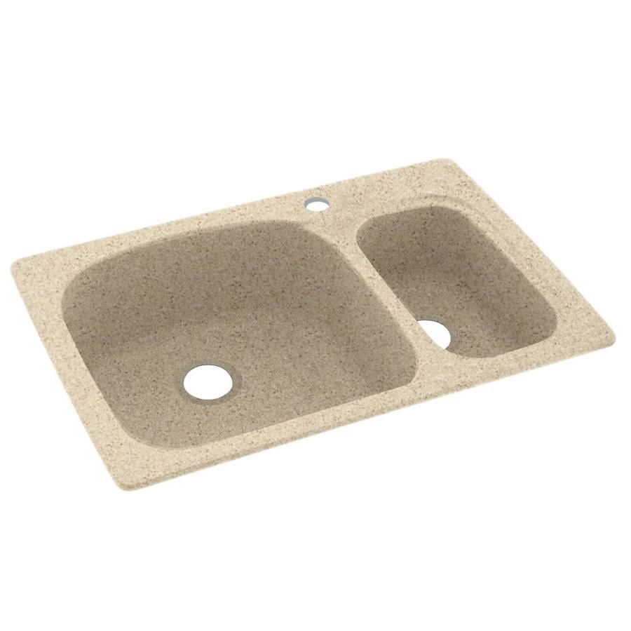 Swanstone 22-in x 33-in Bermuda Sand Double-Basin Composite Drop-In 1-Hole Residential Kitchen Sink