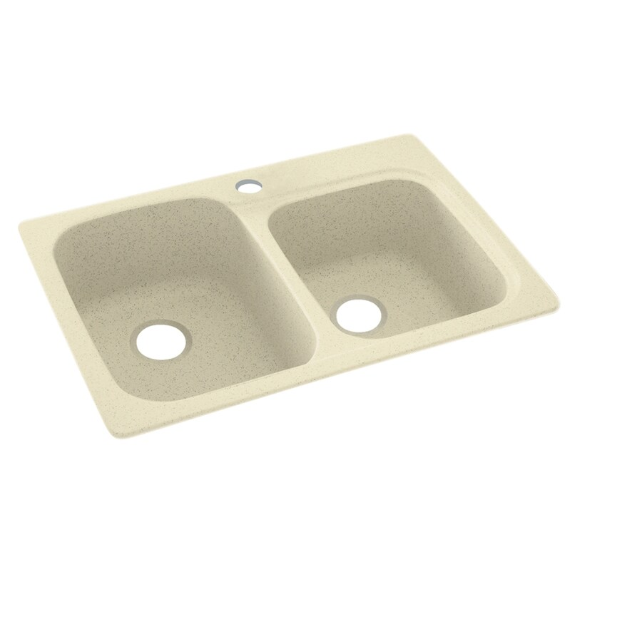 Swanstone 22-in x 33-in Bone Double-Basin Composite Drop-in or Undermount 1-Hole Residential Kitchen Sink