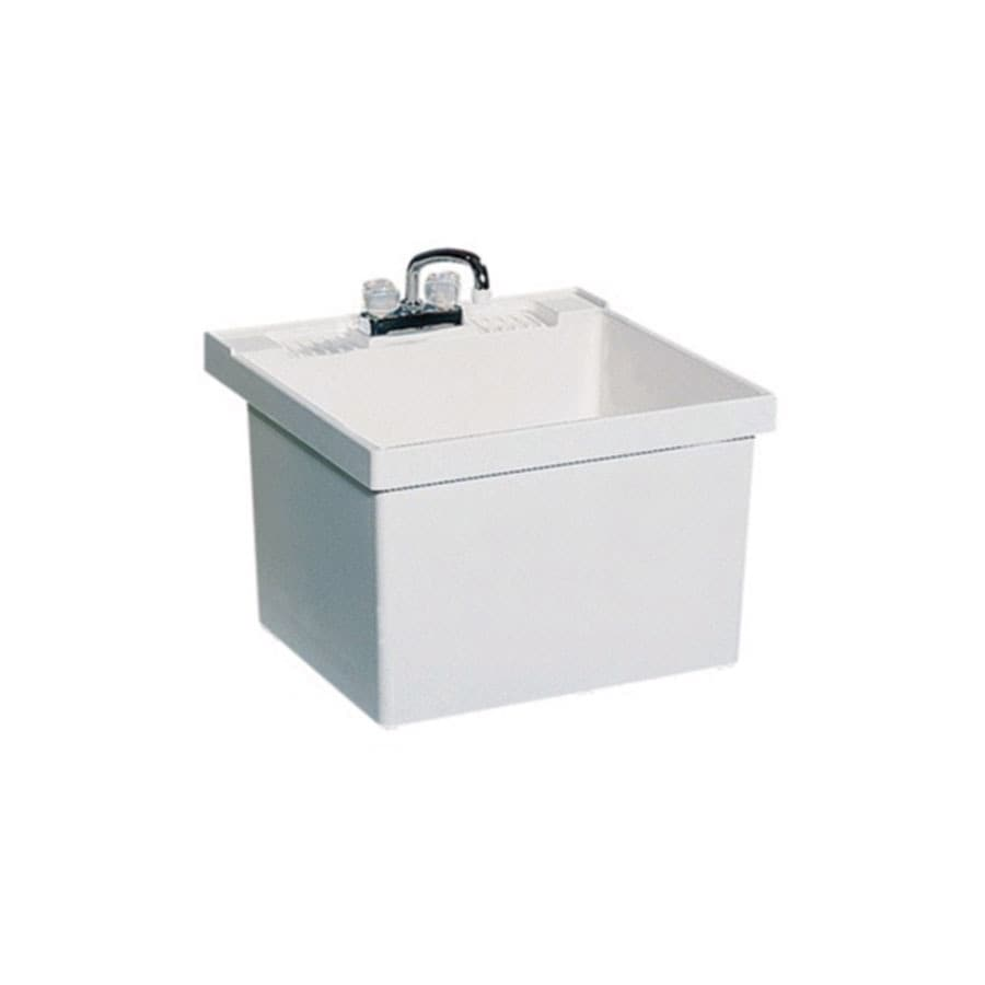 Superb Swanstone 23 In X 22 In White Wall Mount Composite Laundry Utility Sink With