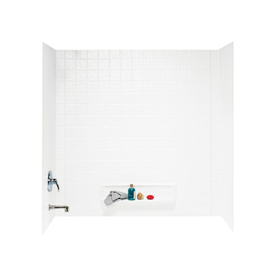Swanstone White Fiberglass and Plastic Composite Bathtub Wall Surround (Common: 30-in x 60-in; Actual: 59.625-in x 30-in x 60-in)