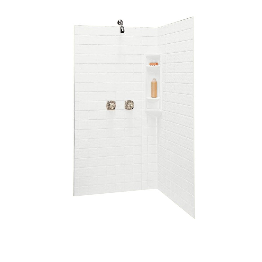 Swanstone White Fiberglass and Plastic Composite Shower Wall Surround Corner Wall Panel (Common: 38-in x 38-in; Actual: 71.625-in x 38-in x 38-in)