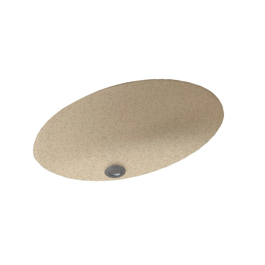 Swanstone Bermuda Sand Solid Surface Undermount Oval Bathroom Sink and Overflow