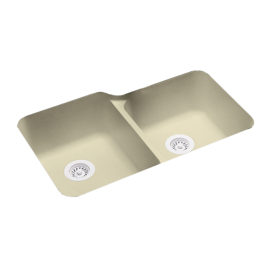 Swanstone 21.25-in x 33-in Bone Double-Basin Composite Undermount Residential Kitchen Sink