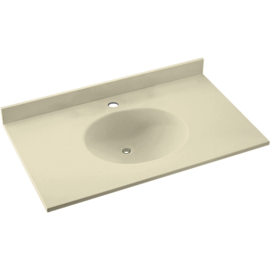 Swanstone Ellipse Bone Solid Surface Integral Single Sink Bathroom Vanity Top (Common: 43-in x 22-in; Actual: 43-in x 22-in)