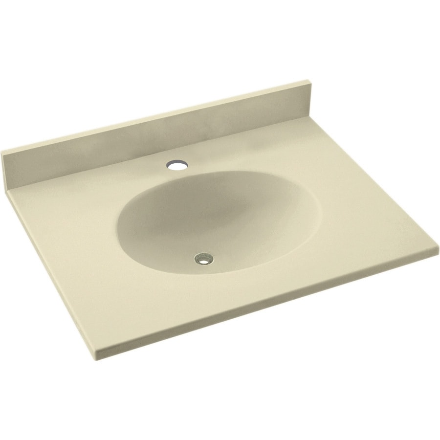 Shop Swanstone Ellipse Bone Solid Surface Integral Single Sink Bathroom Vanity Top Common 19