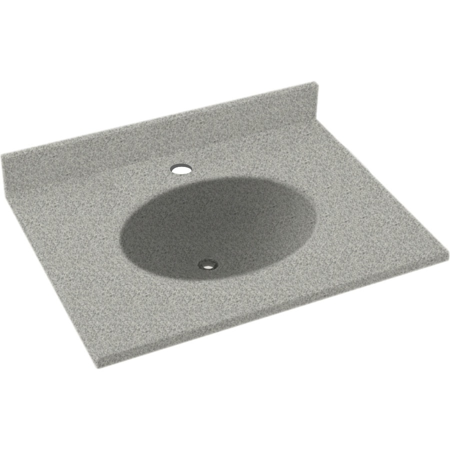 Swanstone Ellipse Gray Granite Solid Surface Integral Single Sink Bathroom Vanity Top (Common: 19-in x 17-in; Actual: 19-in x 17-in)