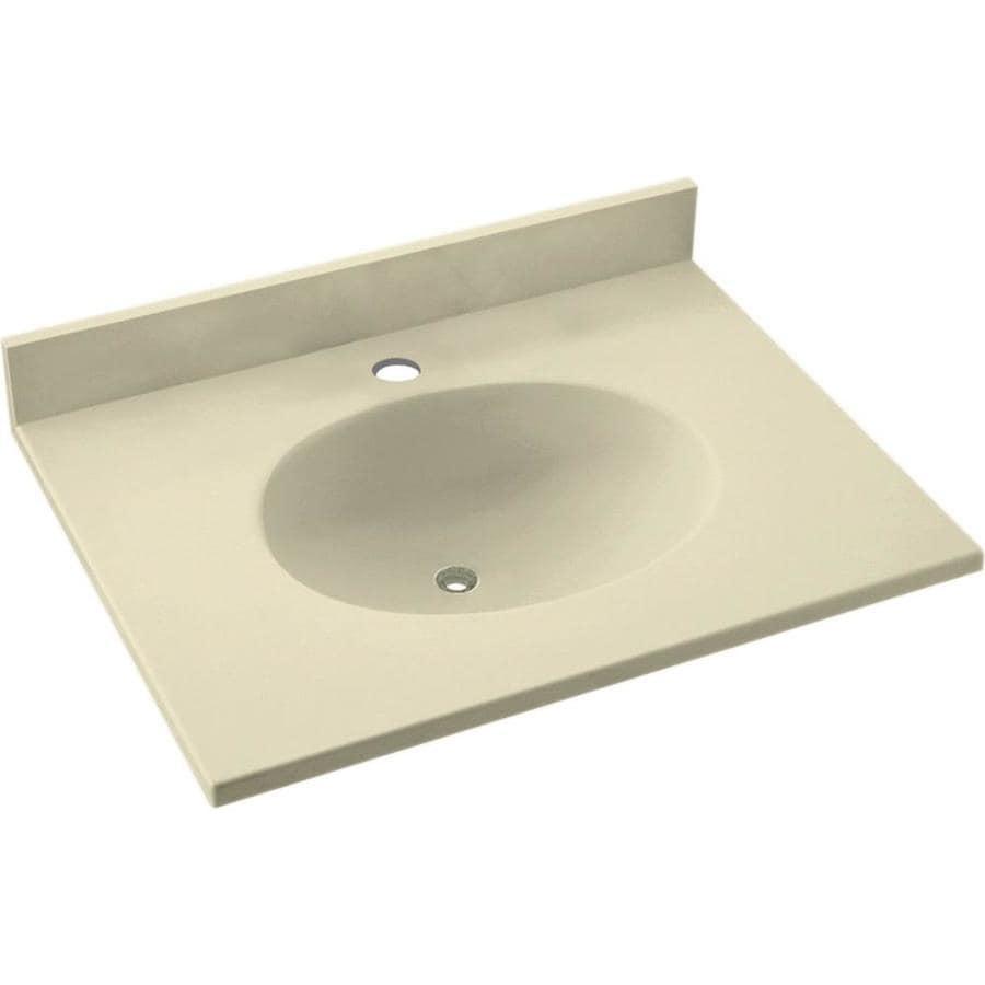 Swanstone Ellipse Bone Solid Surface Integral Single Sink Bathroom Vanity Top Common 25