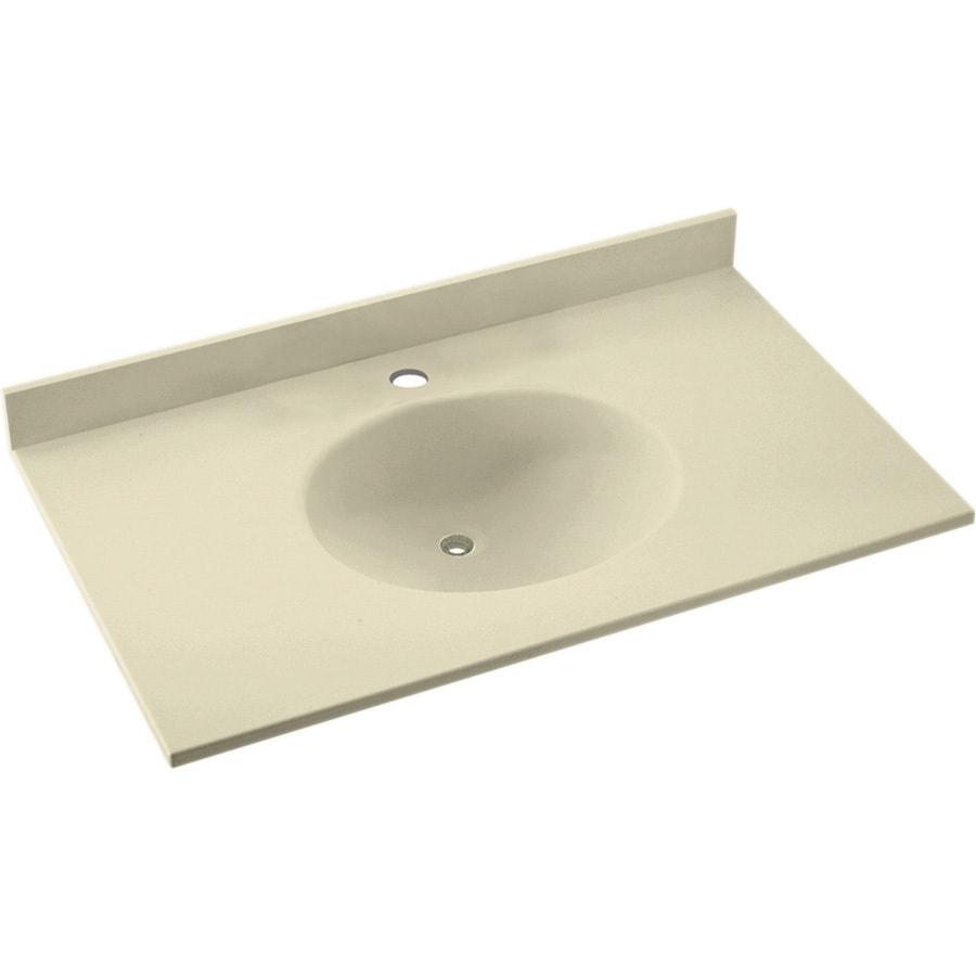 Swanstone Ellipse Bone Solid Surface Integral Single Sink Bathroom Vanity Top (Common: 37-in x 19-in; Actual: 37-in x 19-in)