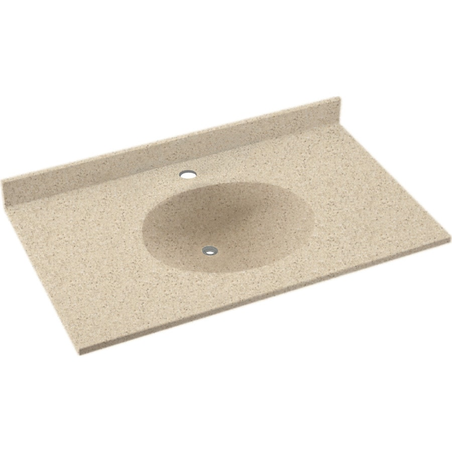 Swanstone Ellipse Bermuda Sand Solid Surface Integral Single Sink Bathroom Vanity Top Common 37
