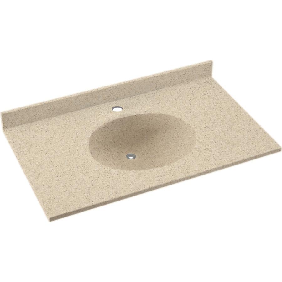 Shop Swanstone Ellipse Bermuda Sand Solid Surface Integral Single Sink Bathroom Vanity Top